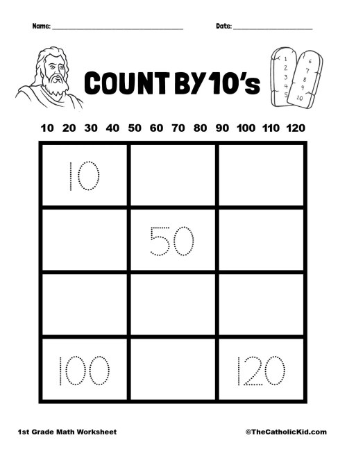 small resolution of Count By 10's - 1st Grade Math Catholic Worksheet - TheCatholicKid.com