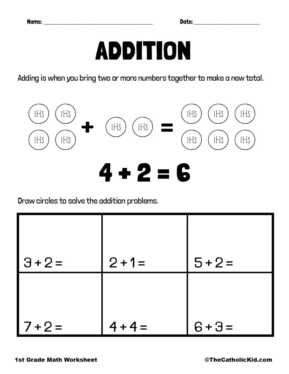medium resolution of Addition - 1st Grade Math Worksheet Catholic - TheCatholicKid.com