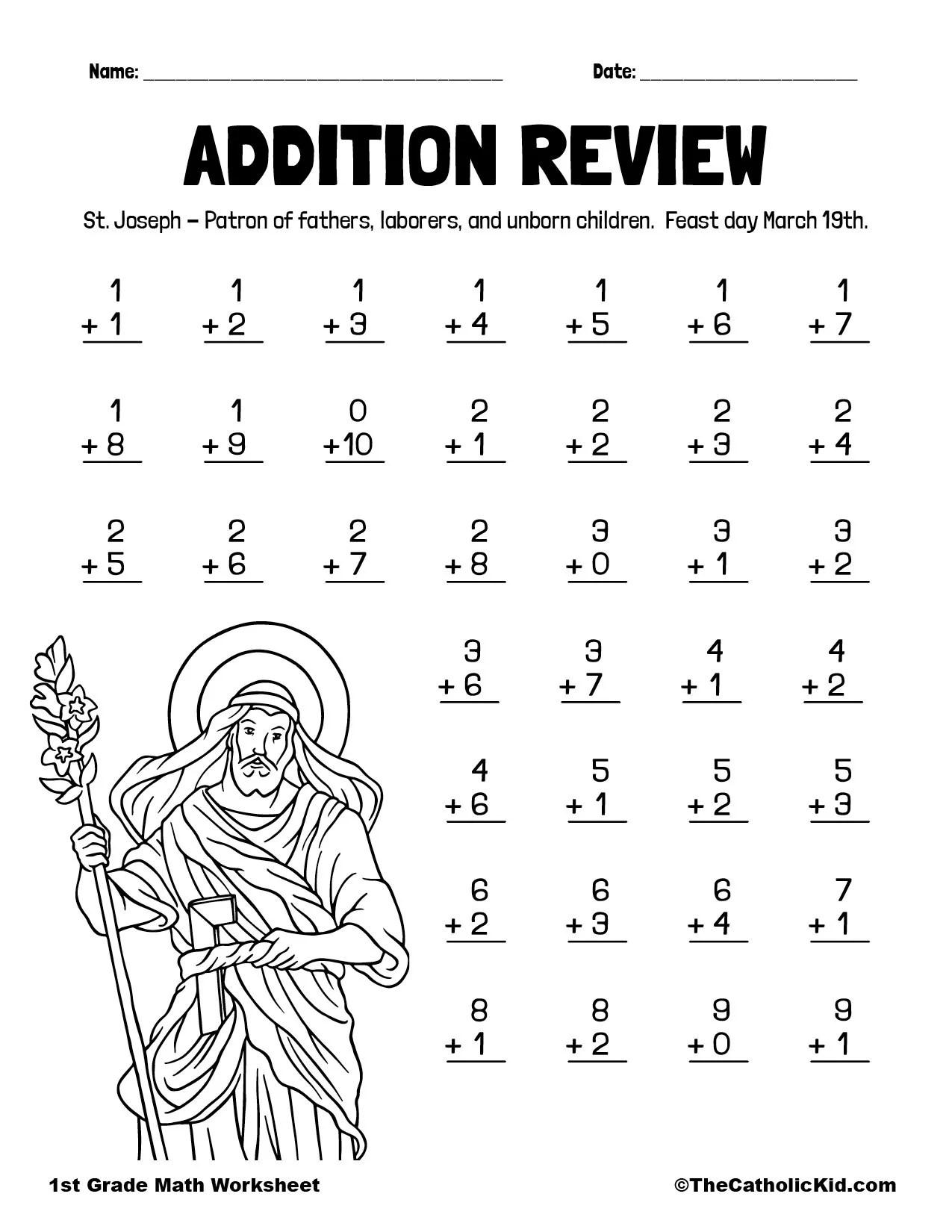 hight resolution of Addition Practice - 1st Grade Math Worksheet Catholic - TheCatholicKid.com