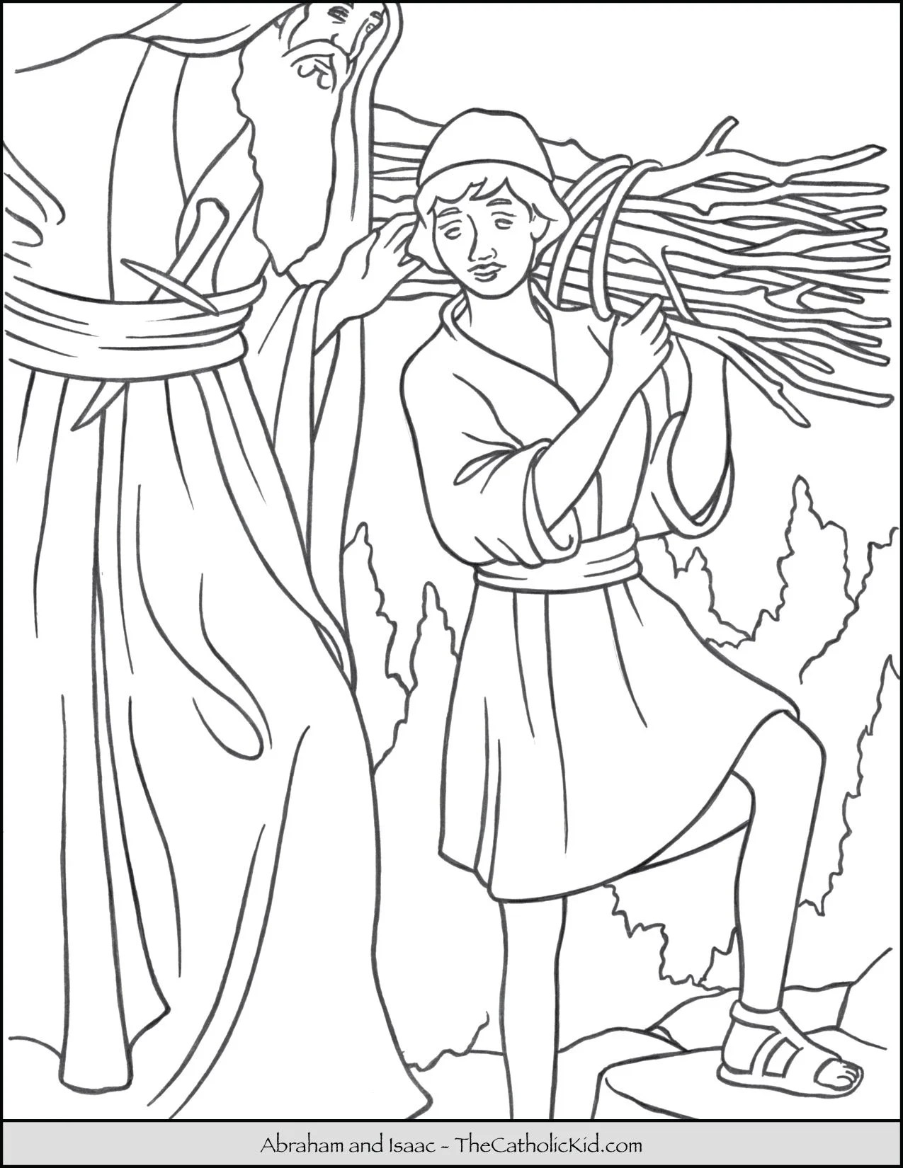 hight resolution of Abraham and Isaac Coloring Page - TheCatholicKid.com