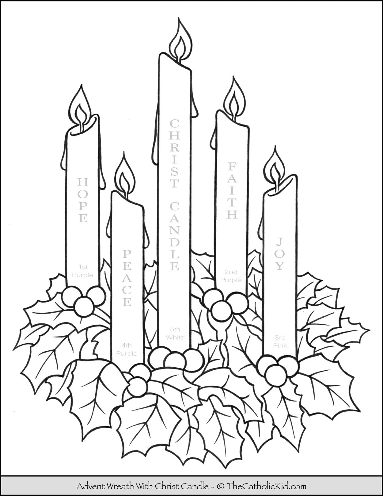 hight resolution of Advent Wreath Coloring Page With Candle Names \u0026 Meanings -  TheCatholicKid.com