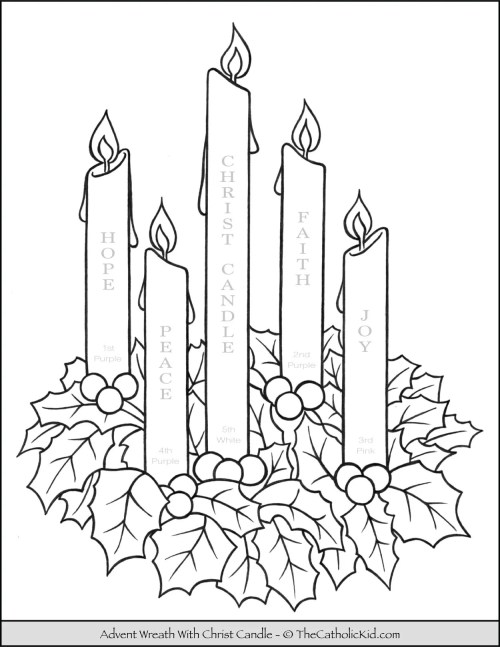 small resolution of Advent Wreath Coloring Page With Candle Names \u0026 Meanings -  TheCatholicKid.com