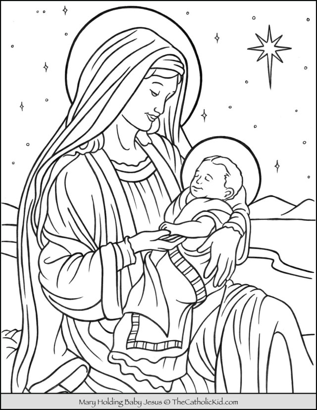 Mary With Baby Jesus in Bethlehem Coloring Page - TheCatholicKid.com