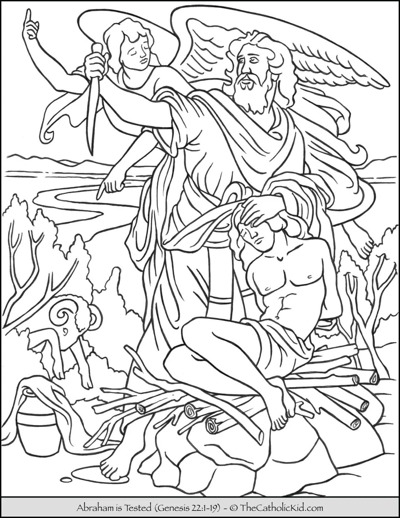 hight resolution of Abraham is Tested - Sacrifice Isaac Coloring Page - TheCatholicKid.com