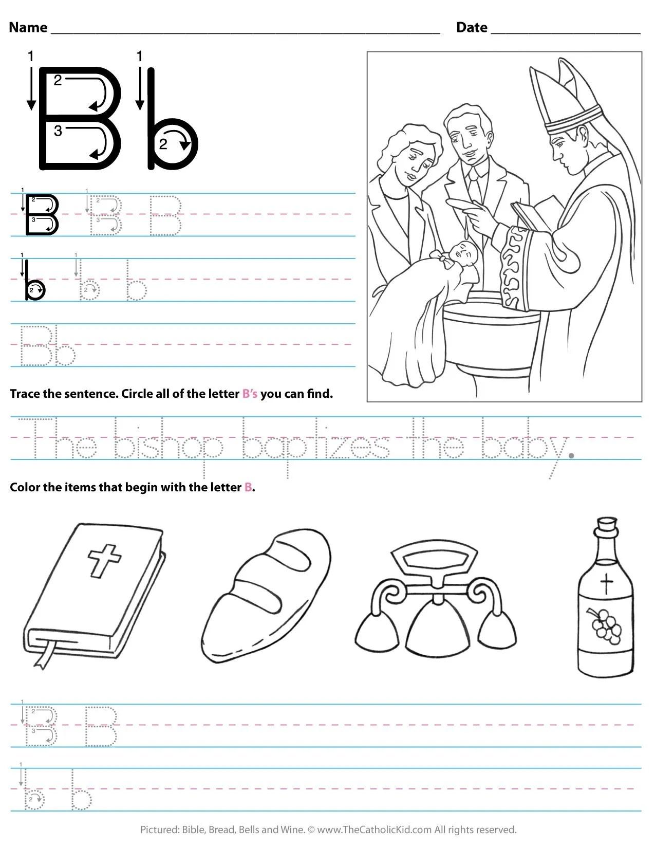Catholic Alphabet Letter B Worksheet Preschool