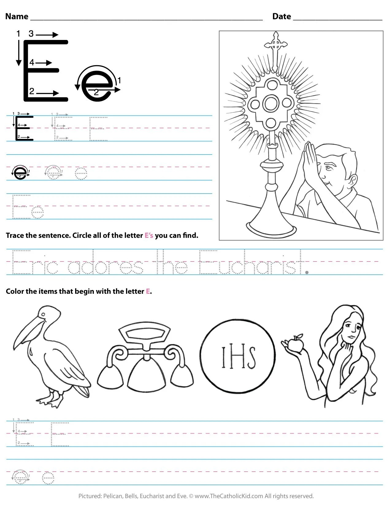 Catholic Alphabet Letter E Worksheet Preschool