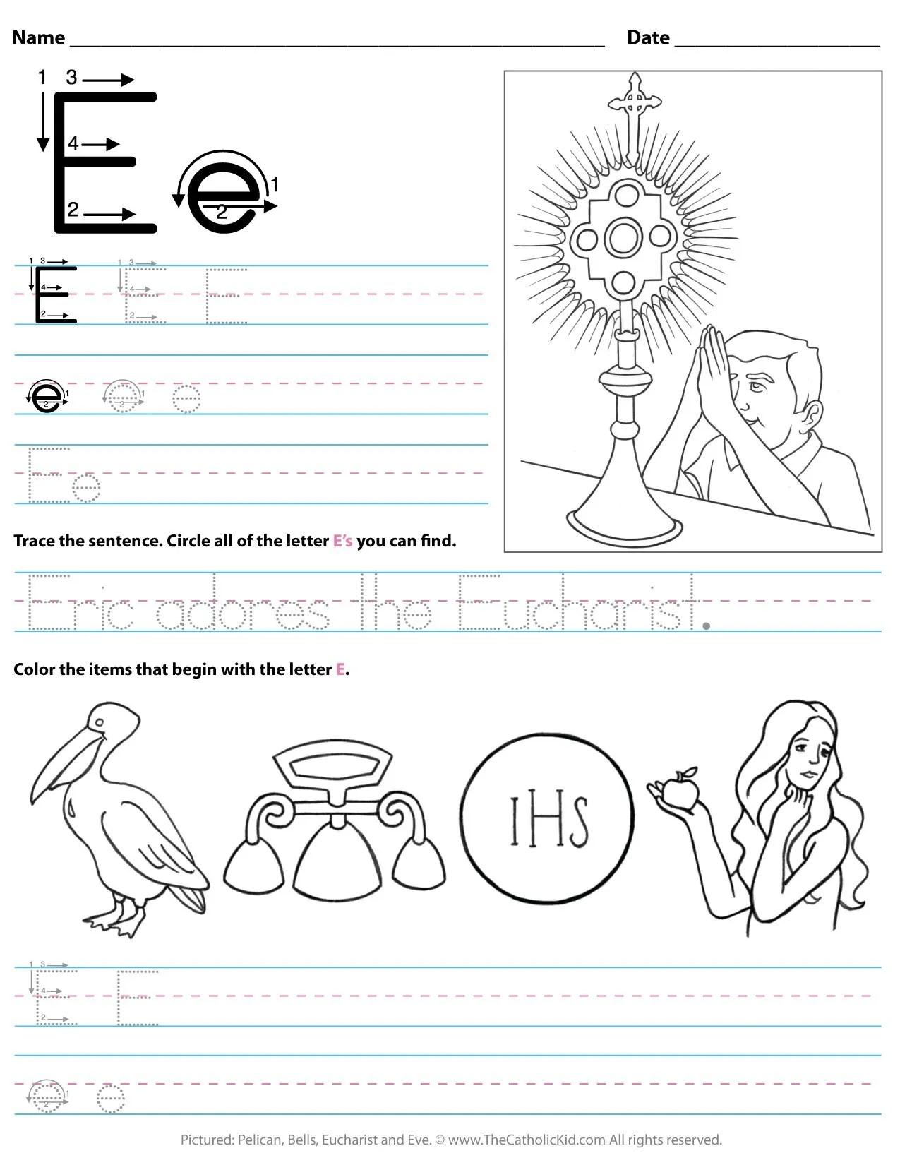 Catholic Alphabet Letter E Worksheet Preschool Kindergarten Thecatholickid Com