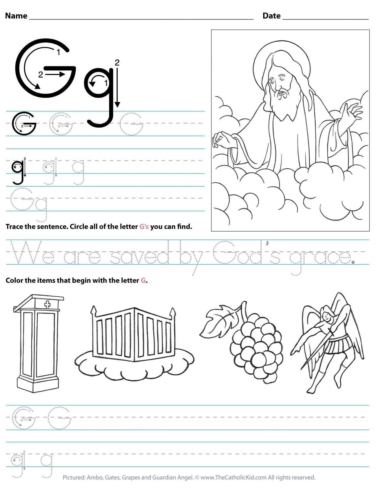 Catholic Alphabet Letter G Worksheet Preschool