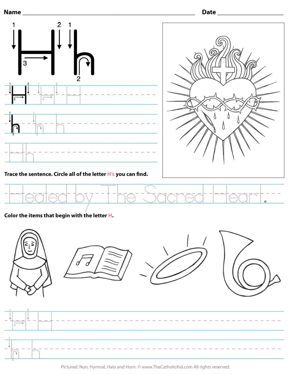 medium resolution of Catholic Alphabet Letter H Worksheet Preschool Kindergarten -  TheCatholicKid.com