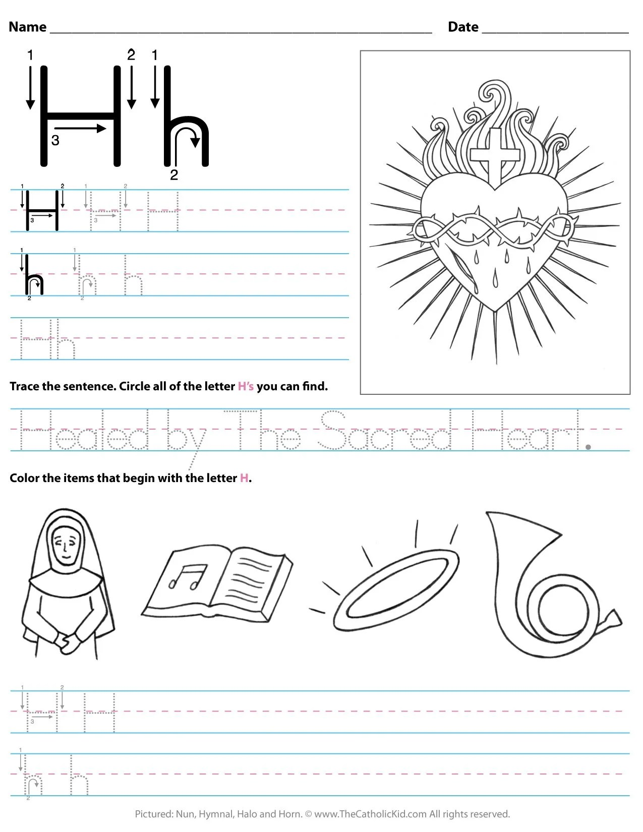 hight resolution of Catholic Alphabet Letter H Worksheet Preschool Kindergarten -  TheCatholicKid.com