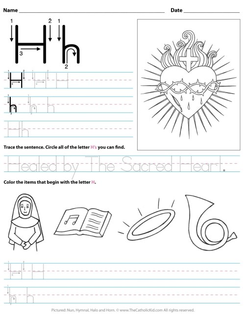 small resolution of Catholic Alphabet Letter H Worksheet Preschool Kindergarten -  TheCatholicKid.com