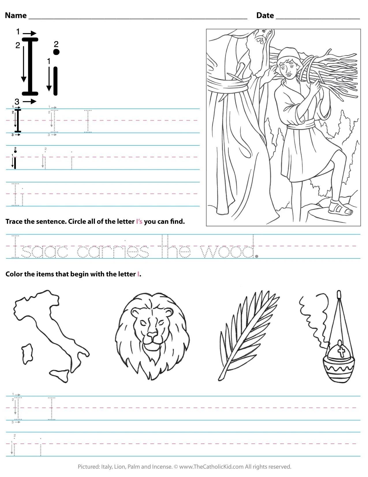 hight resolution of Catholic Alphabet Letter I Worksheet Preschool Kindergarten -  TheCatholicKid.com