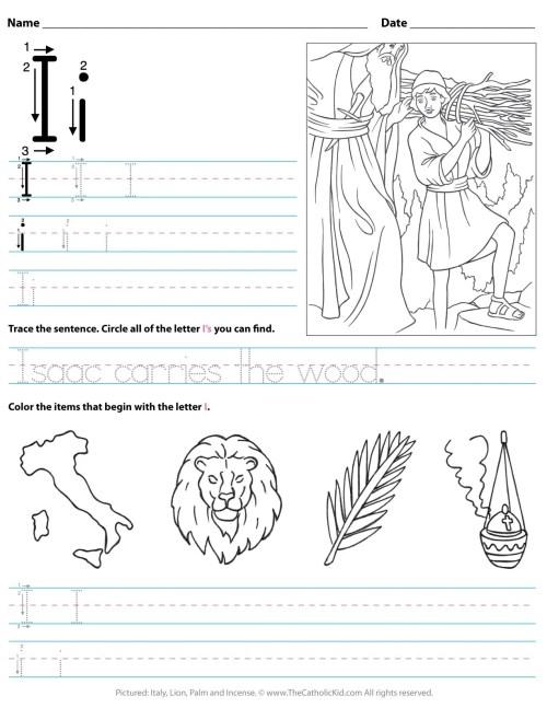 small resolution of Catholic Alphabet Letter I Worksheet Preschool Kindergarten -  TheCatholicKid.com
