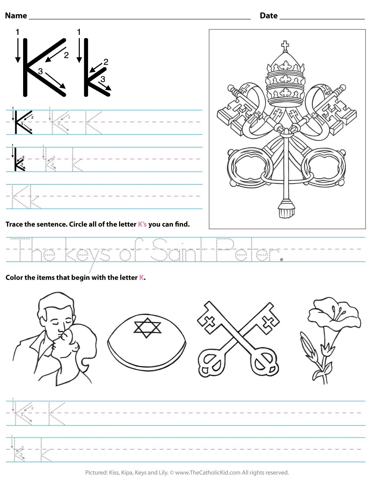 Catholic Alphabet Letter K Worksheet Preschool