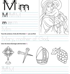 Catholic Alphabet Letter M Worksheet Preschool Kindergarten -  TheCatholicKid.com [ 1650 x 1275 Pixel ]