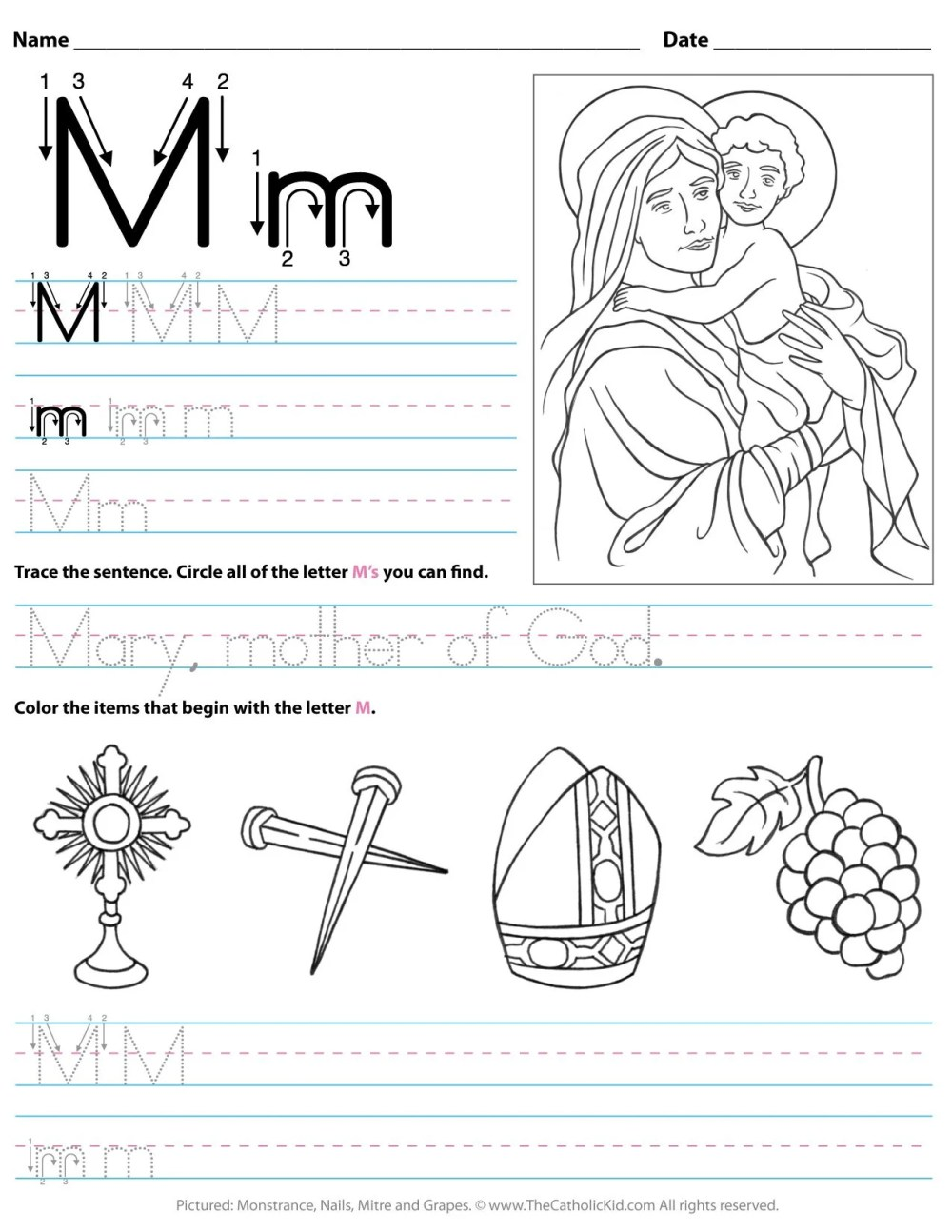 medium resolution of Catholic Alphabet Letter M Worksheet Preschool Kindergarten -  TheCatholicKid.com