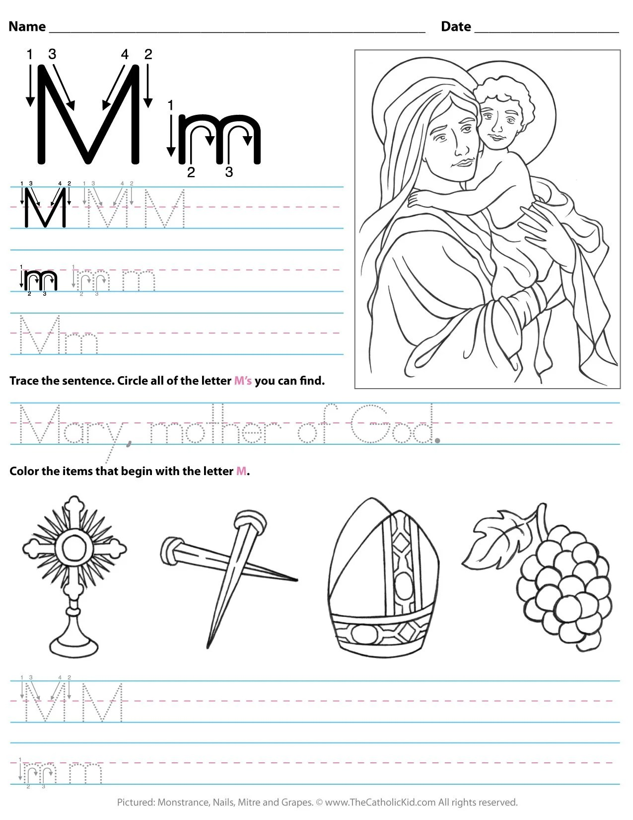 hight resolution of Catholic Alphabet Letter M Worksheet Preschool Kindergarten -  TheCatholicKid.com