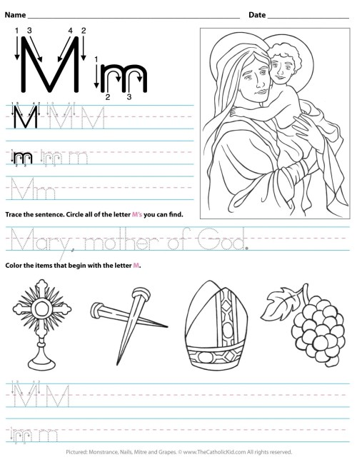 small resolution of Catholic Alphabet Letter M Worksheet Preschool Kindergarten -  TheCatholicKid.com
