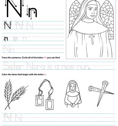 Catholic Alphabet Letter N Worksheet Preschool Kindergarten -  TheCatholicKid.com [ 1650 x 1275 Pixel ]