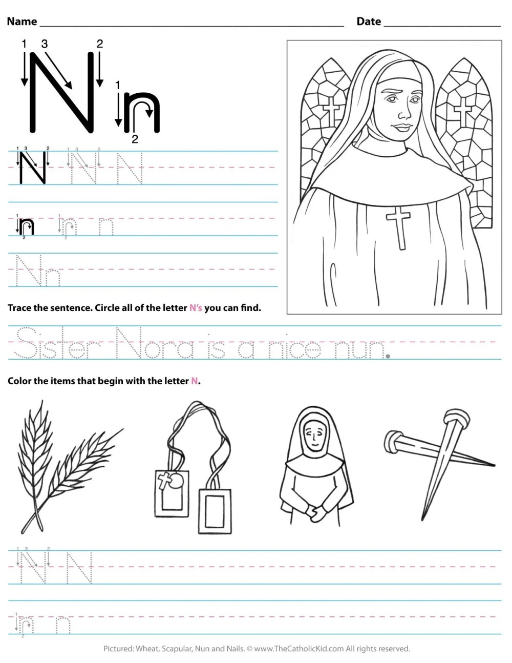 medium resolution of Catholic Alphabet Letter N Worksheet Preschool Kindergarten -  TheCatholicKid.com
