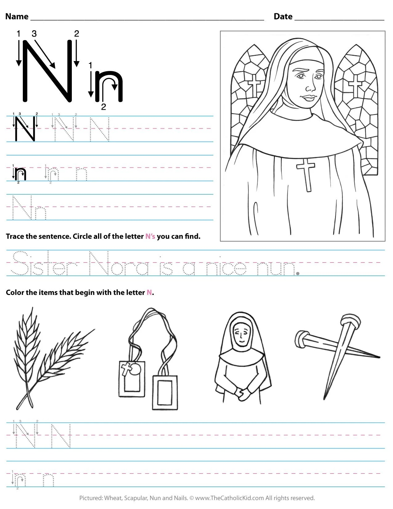 hight resolution of Catholic Alphabet Letter N Worksheet Preschool Kindergarten -  TheCatholicKid.com