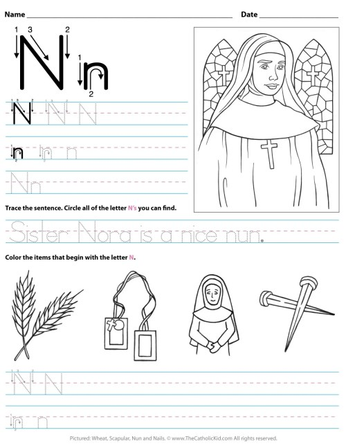 small resolution of Catholic Alphabet Letter N Worksheet Preschool Kindergarten -  TheCatholicKid.com
