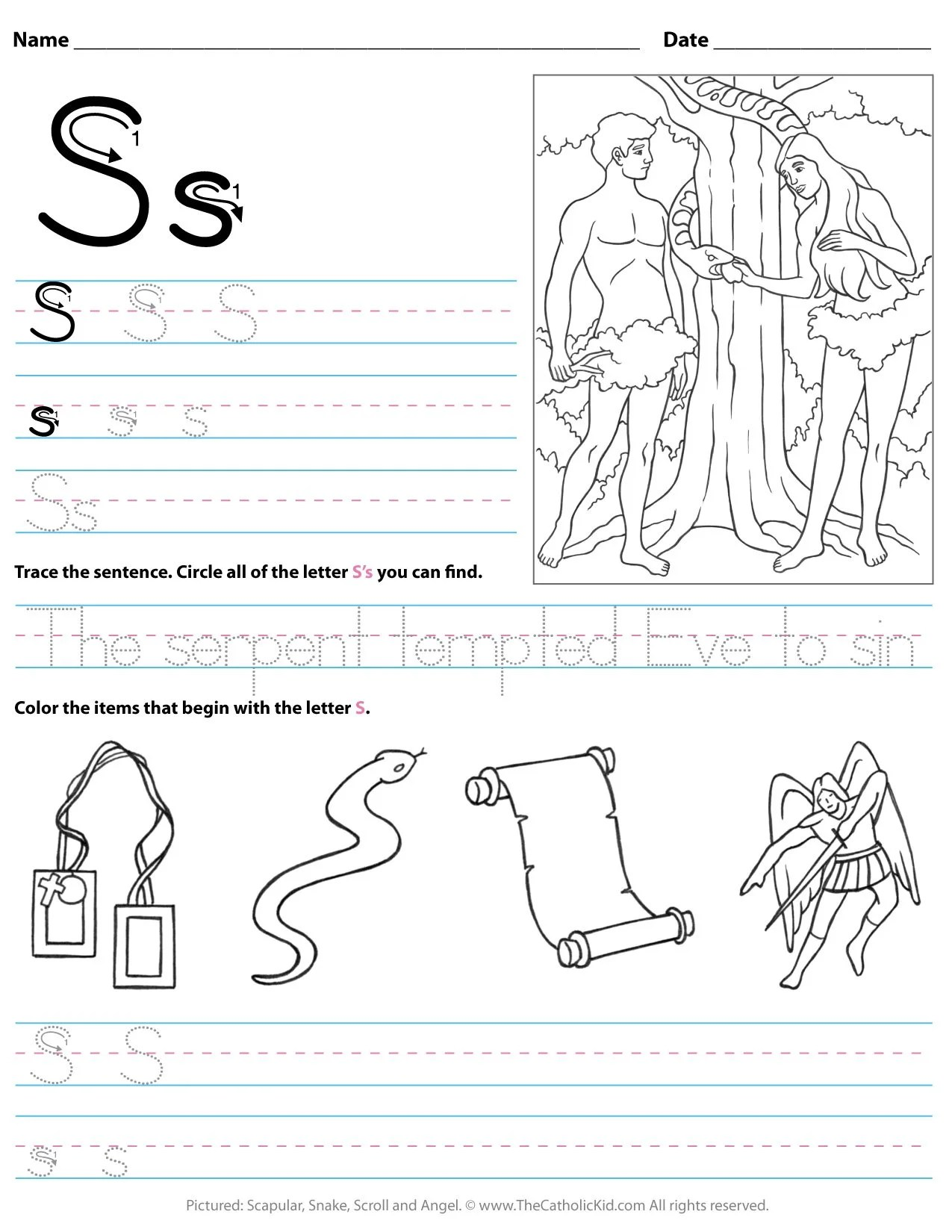Catholic Alphabet Letter S Worksheet Preschool