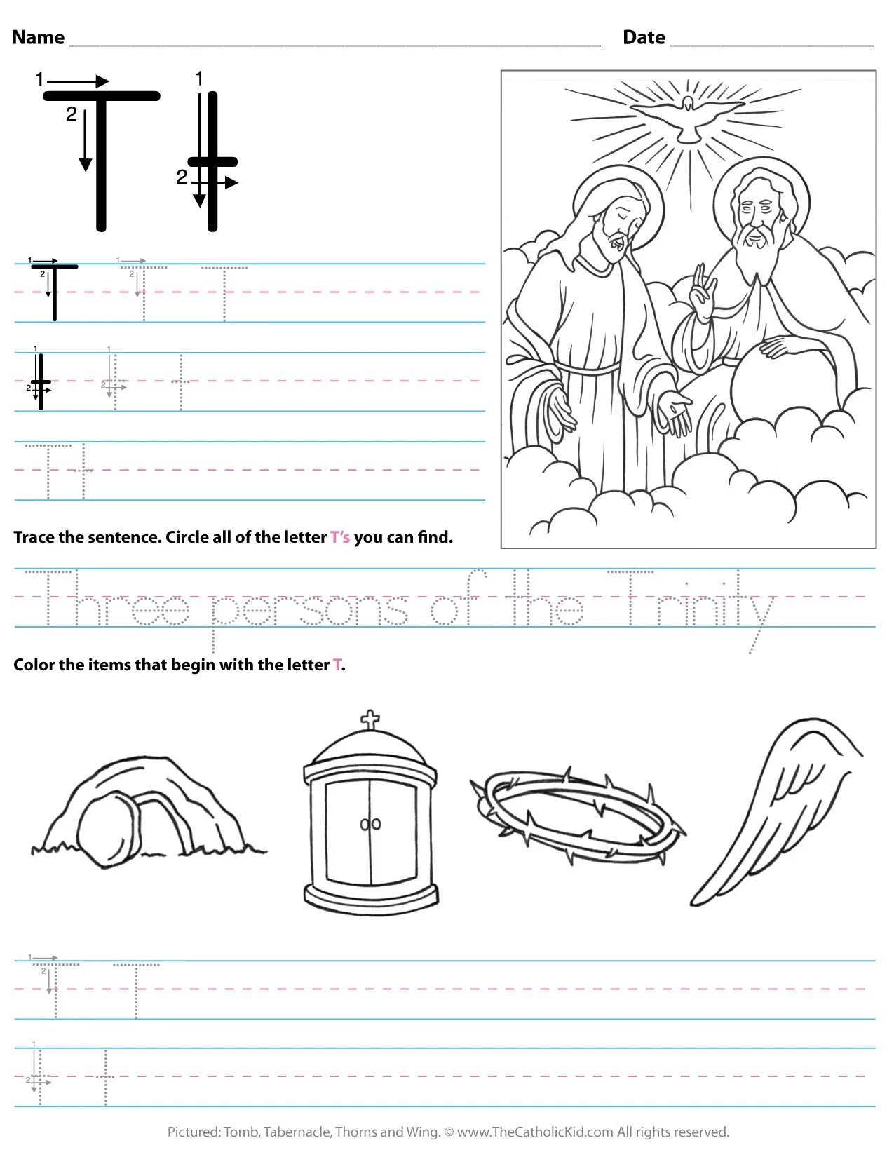Catholic Alphabet Letter T Worksheet Preschool