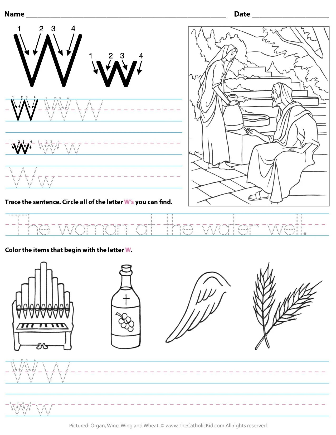Catholic Alphabet Letter W Worksheet Preschool