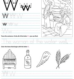 Catholic Alphabet Letter W Worksheet Preschool Kindergarten -  TheCatholicKid.com [ 1650 x 1275 Pixel ]