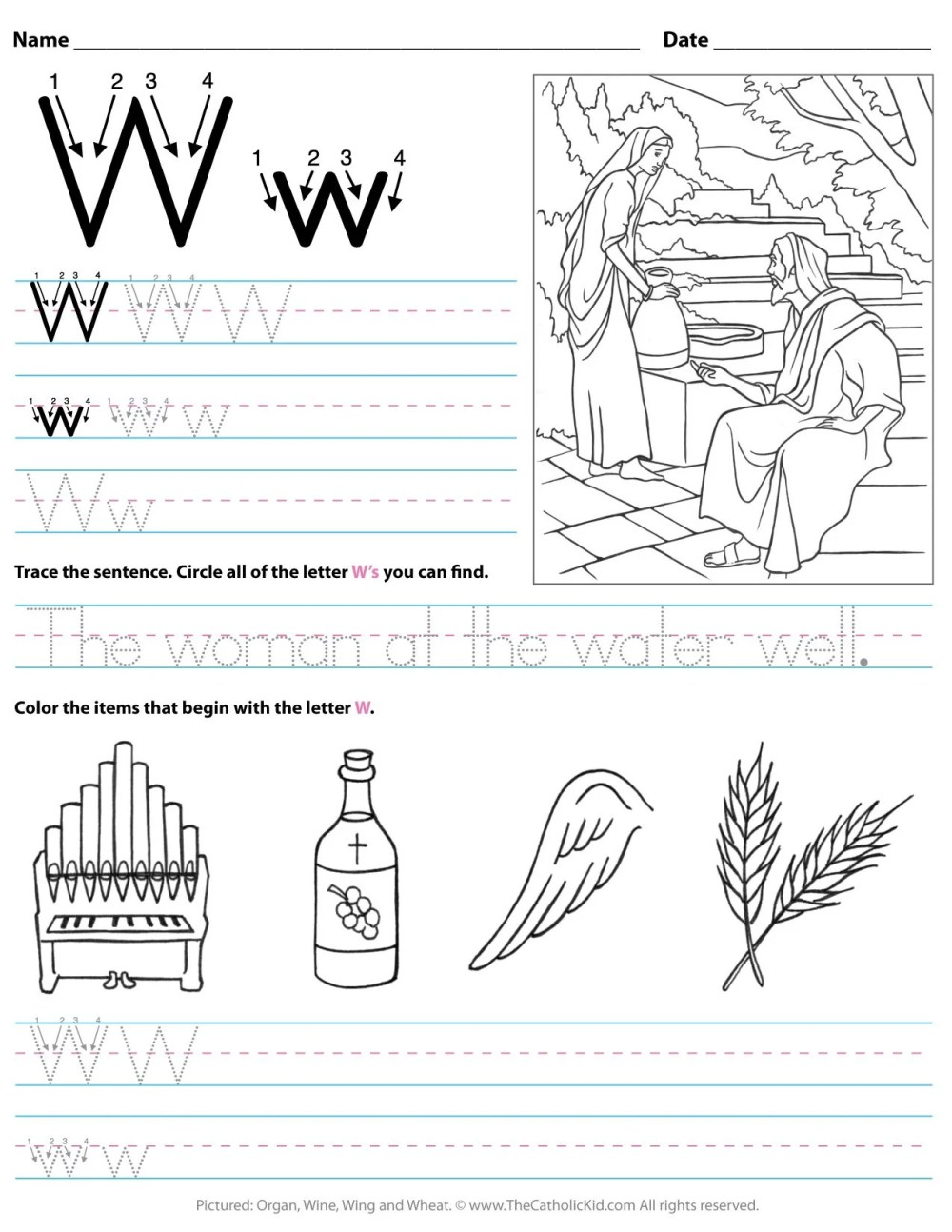 medium resolution of Catholic Alphabet Letter W Worksheet Preschool Kindergarten -  TheCatholicKid.com