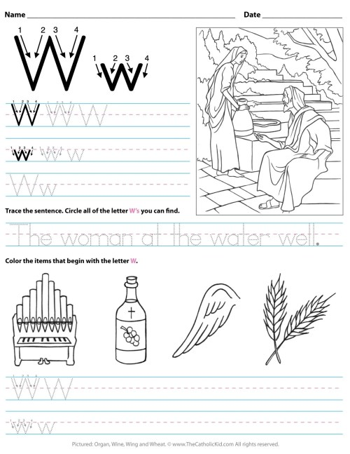 small resolution of Catholic Alphabet Letter W Worksheet Preschool Kindergarten -  TheCatholicKid.com
