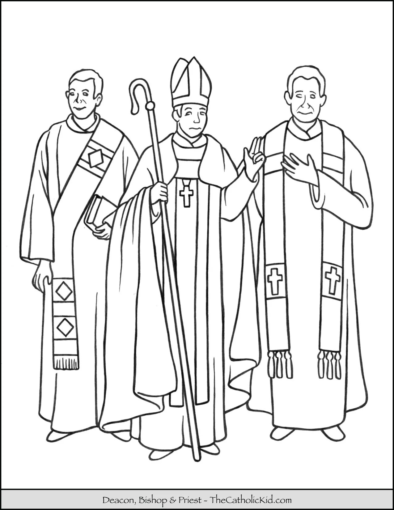 Deacon Bishop Amp Priest Coloring Page