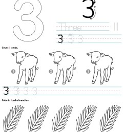 Catholic Number 3 Worksheet Preschool Kindergarten Coloring Page -  TheCatholicKid.com [ 1650 x 1275 Pixel ]