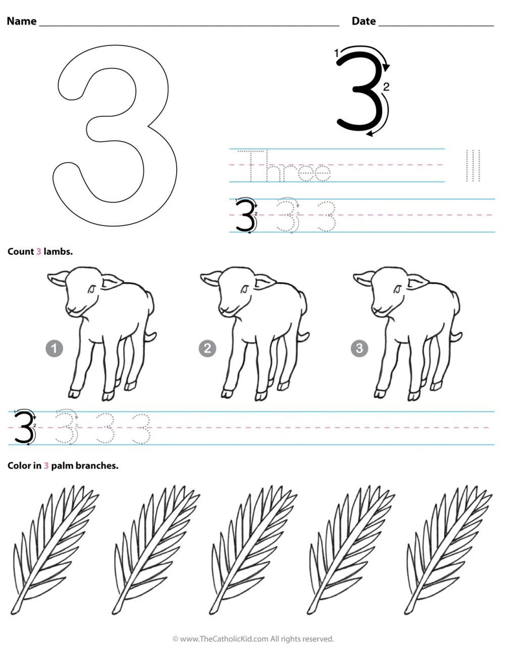 medium resolution of Catholic Number 3 Worksheet Preschool Kindergarten Coloring Page -  TheCatholicKid.com