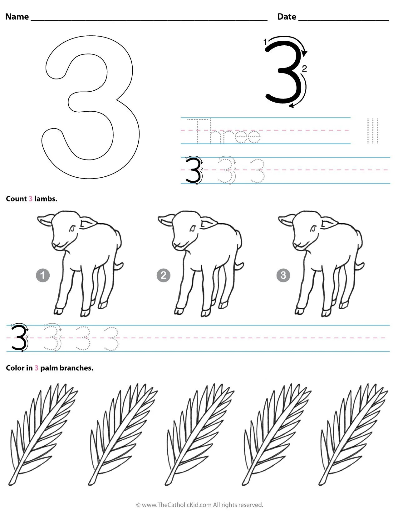 hight resolution of Catholic Number 3 Worksheet Preschool Kindergarten Coloring Page -  TheCatholicKid.com