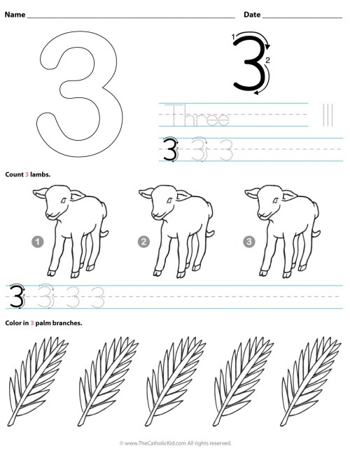 small resolution of Catholic Number 3 Worksheet Preschool Kindergarten Coloring Page -  TheCatholicKid.com