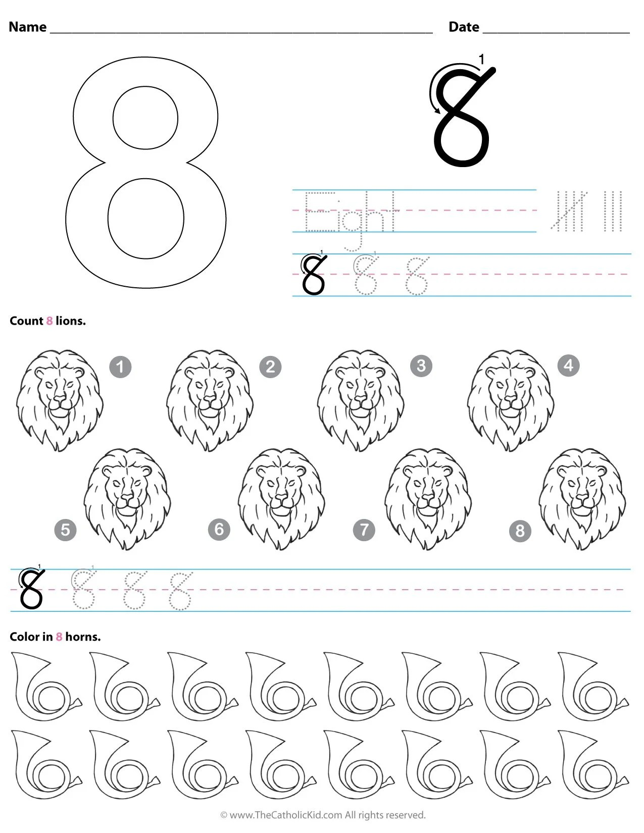Catholic Number 8 Worksheet Preschool Kindergarten