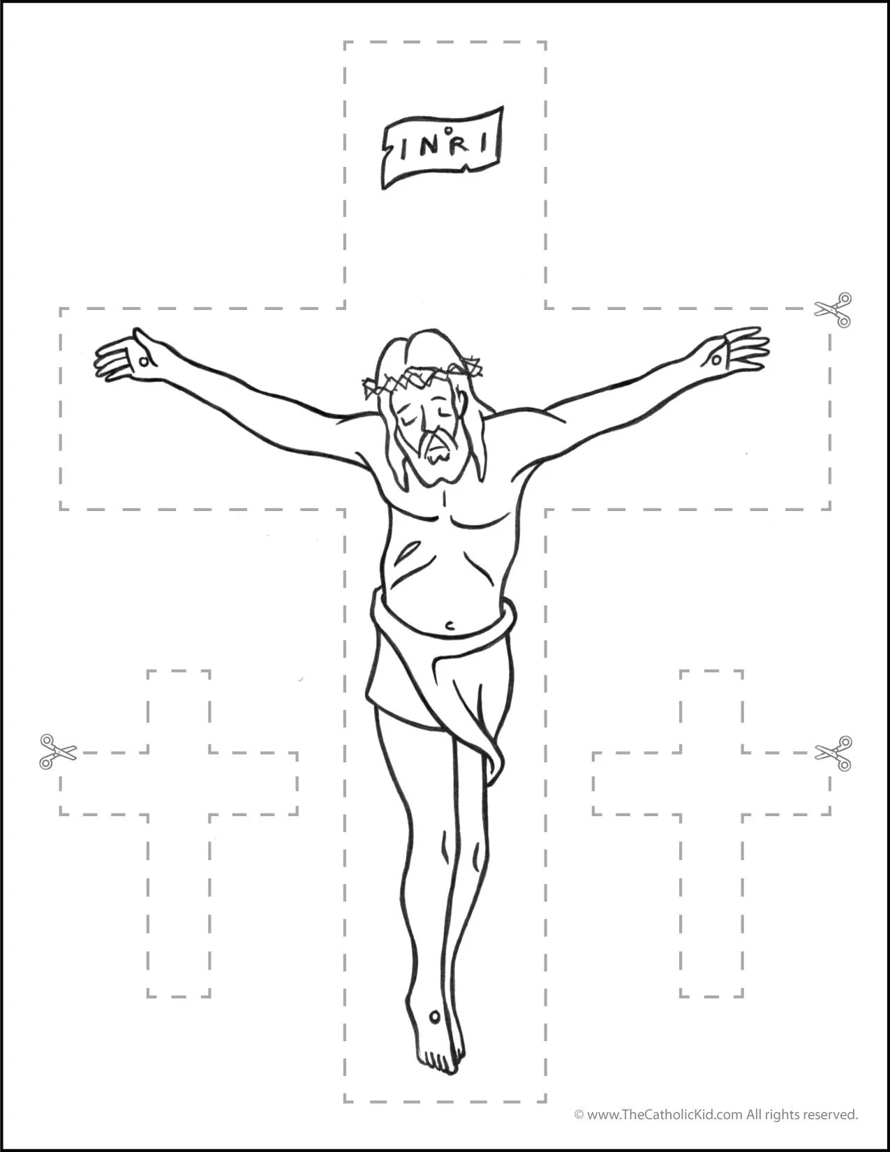 Catholic Scissor Simple Practice Cutting Worksheet