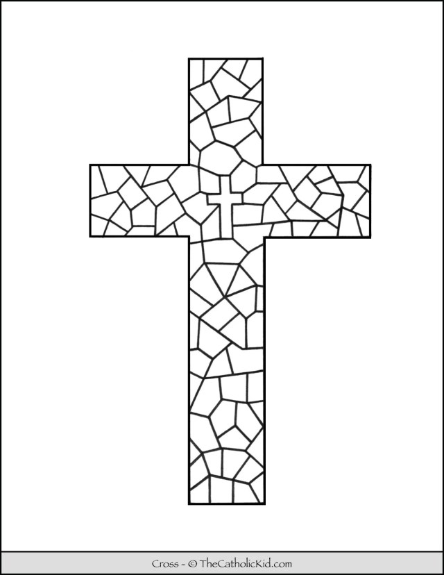 Cross Coloring Page - Stained Glass Pattern - TheCatholicKid.com