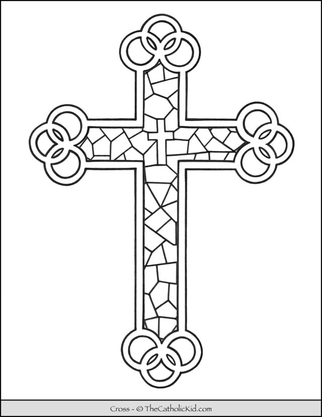 Cross Coloring Page - Stained Glass - TheCatholicKid.com