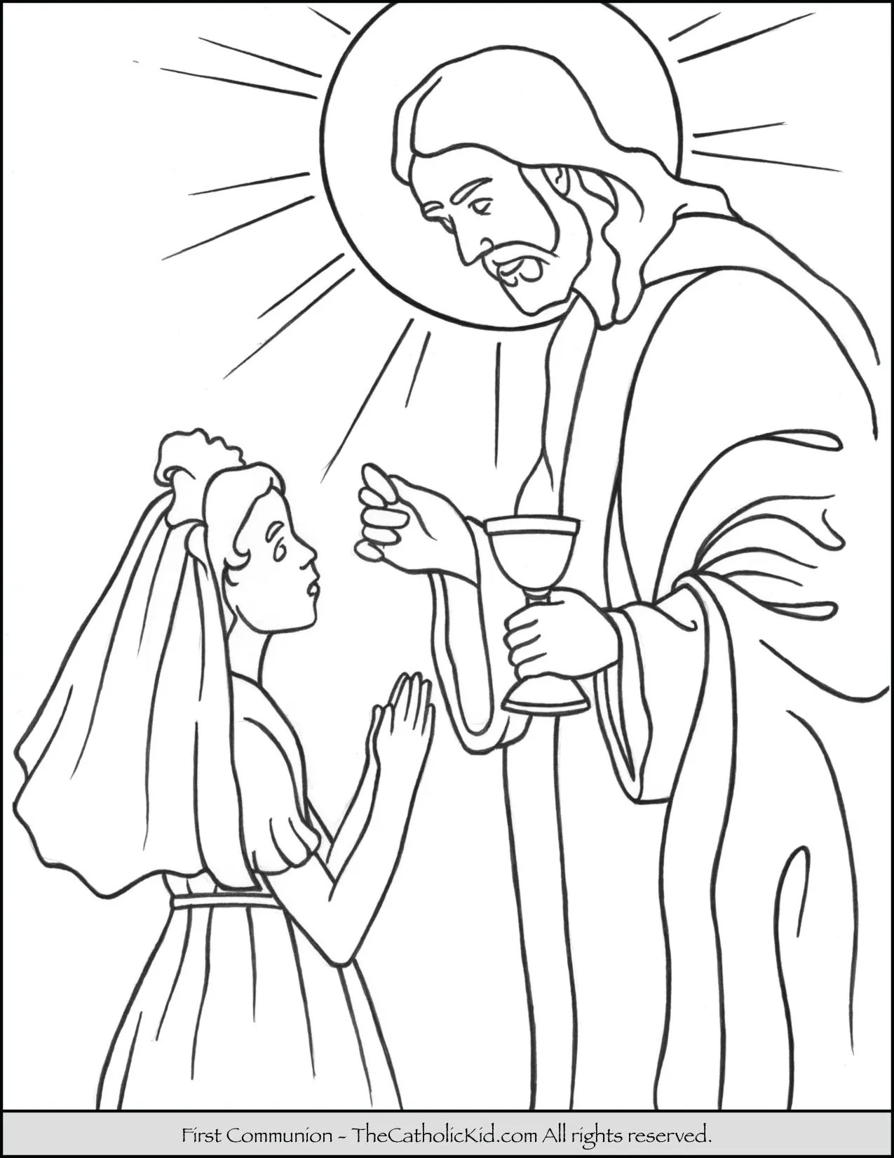 First Communion Girl Coloring Page