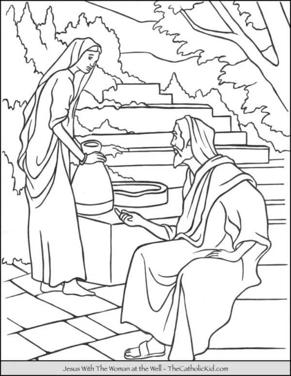 woman at the well coloring page # 61