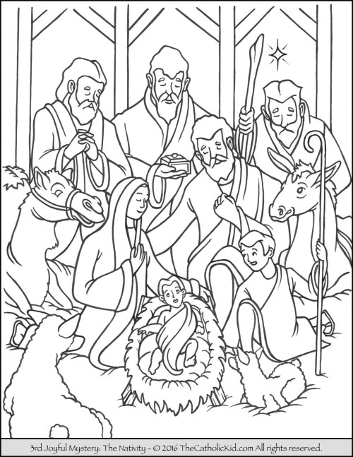 small resolution of Joyful Mysteries Rosary Coloring Pages - The Catholic Kid