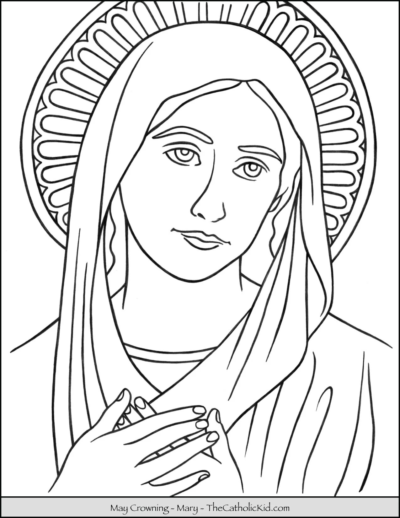 May Crowning Coloring Page Mary