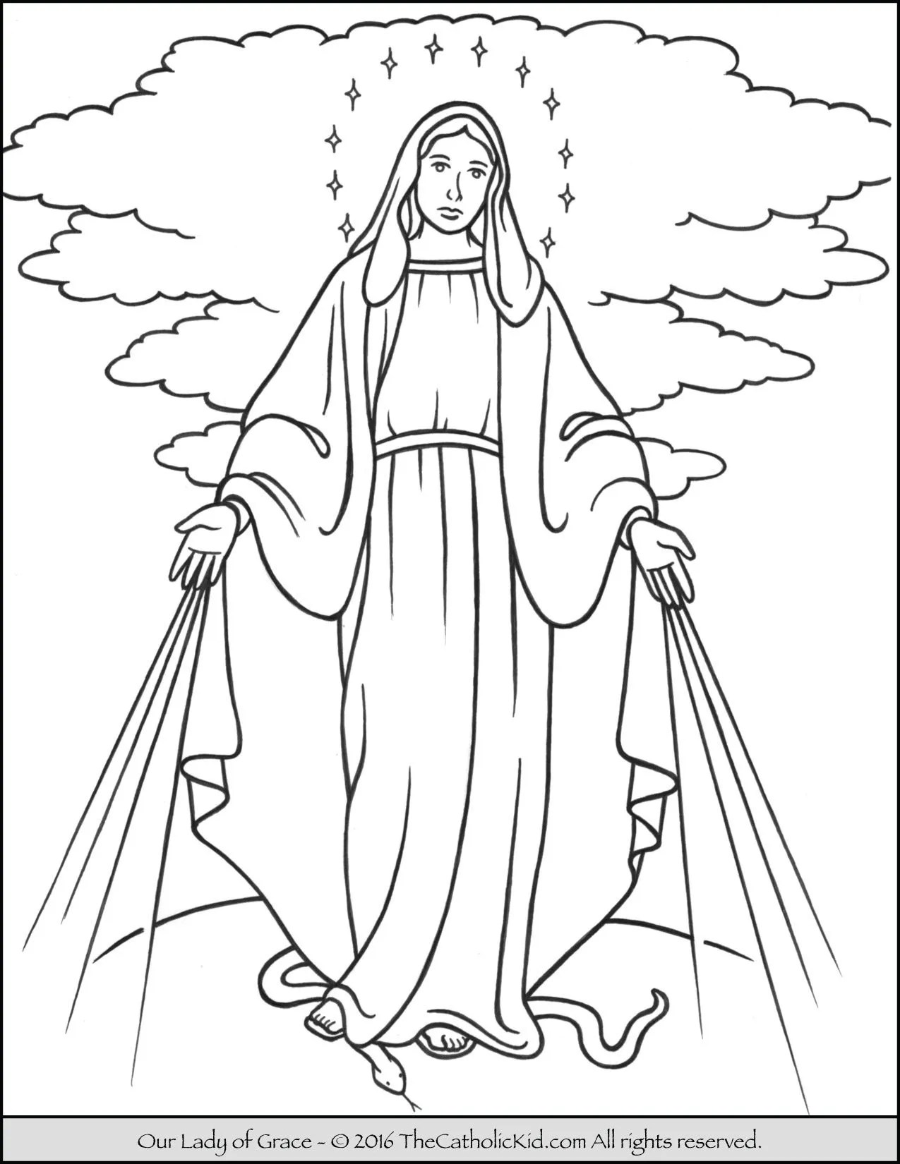 Our Lady Of Grace Coloring Page Mary