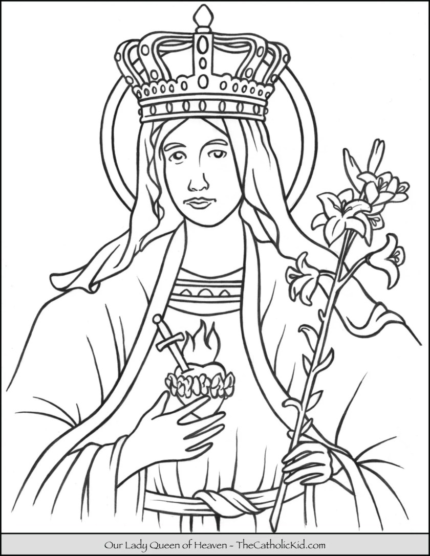 our lady queen of heaven coloring page  thecatholickid