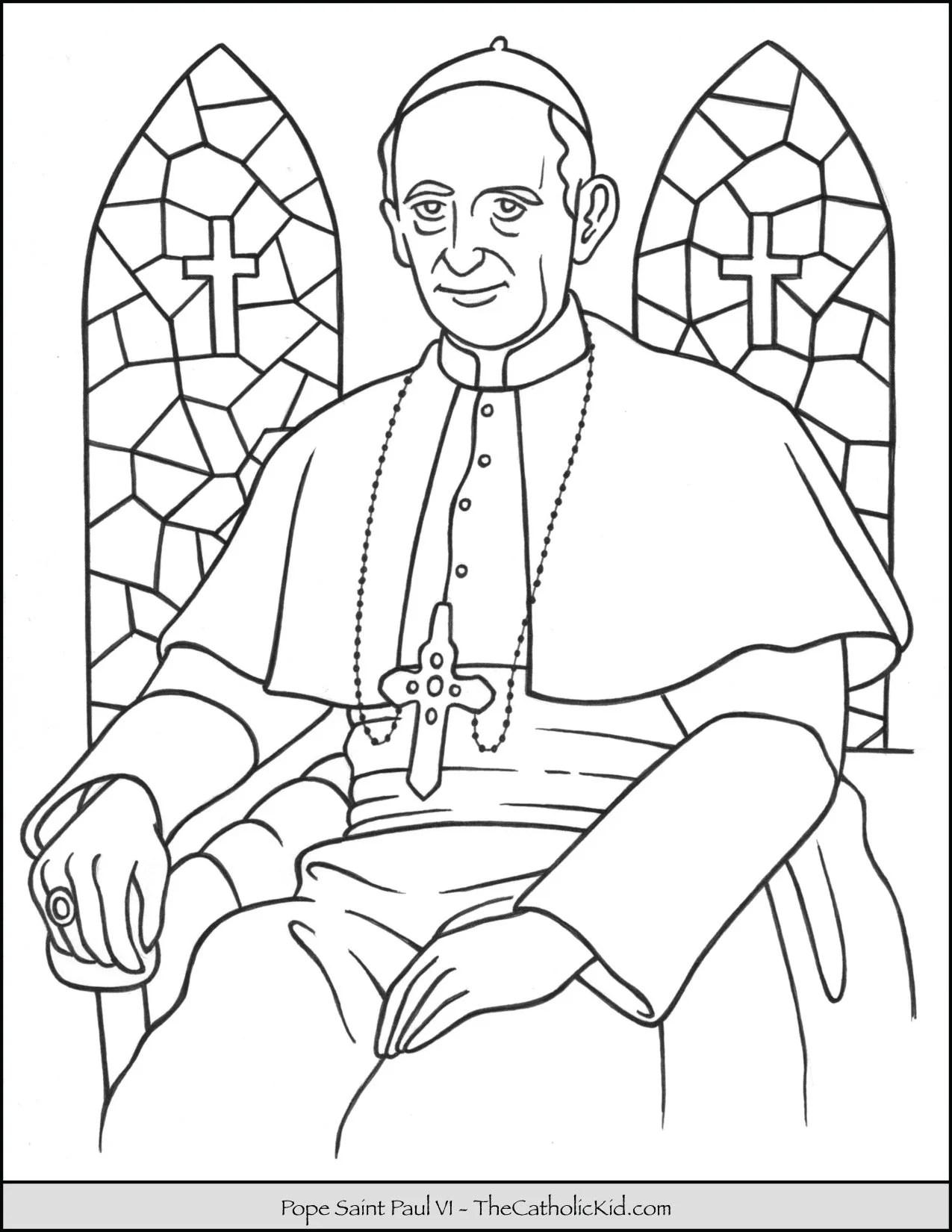 Pope Saint Paul Vi Coloring Page