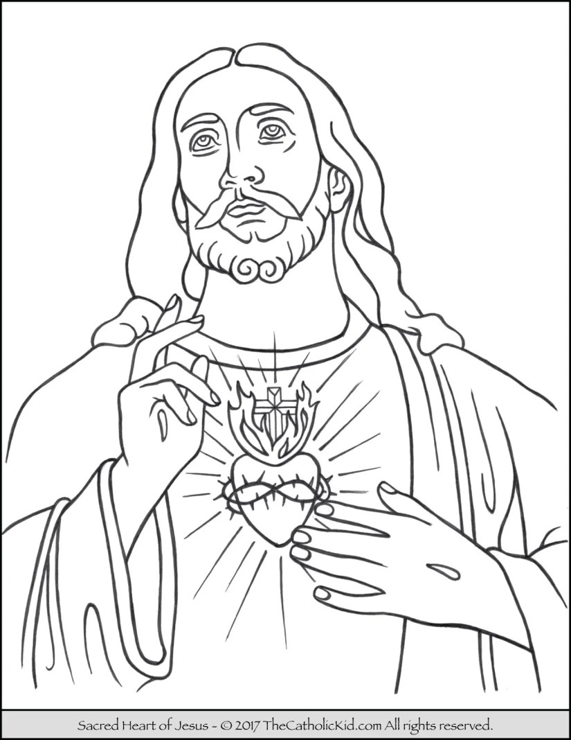 sacred heart of jesus coloring page - thecatholickid