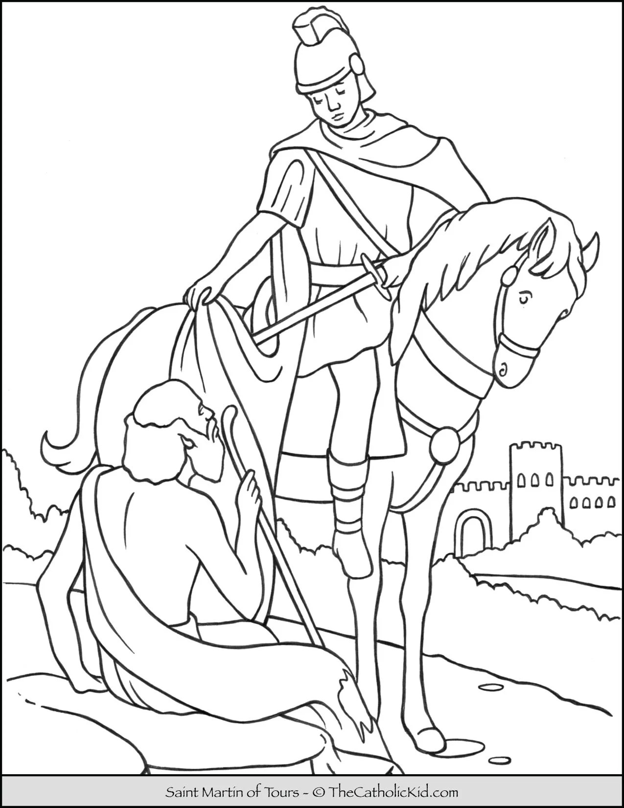 Saint Martin of Tours Coloring Page - TheCatholicKid